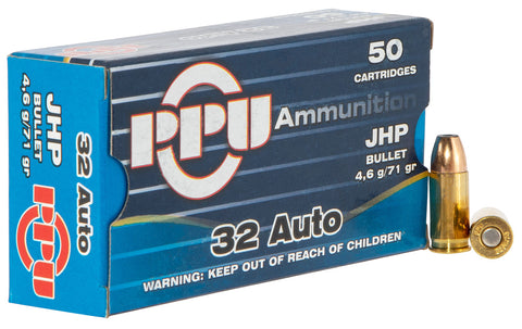 PPU PPD32A Handgun Defense  32 Automatic Colt Pistol (ACP) 71 GR Jacketed Hollow Point 50 Bx/ 20 Cs