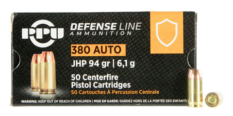 PPU PPD380A Handgun Defense  380 Automatic Colt Pistol (ACP) 94 GR Jacketed Hollow Point 50 Bx/ 20 Cs