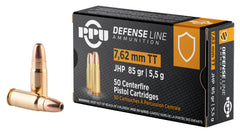 PPU PPD7T Handgun Defense  7.62X25mm Tokarev 85 GR Jacketed Hollow Point 50 Bx/ 10 Cs