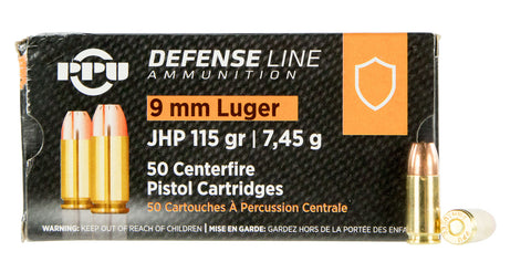 PPU PPD91 Handgun Defense  9mm Luger 115 GR Jacketed Hollow Point 50 Bx/ 20 Cs