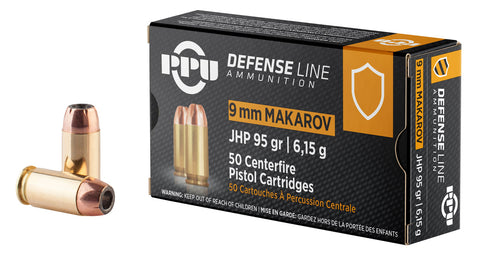 PPU PPD9M Handgun Defense  9x18 Makarov 93 GR Jacketed Hollow Point 50 Bx/ 20 Cs