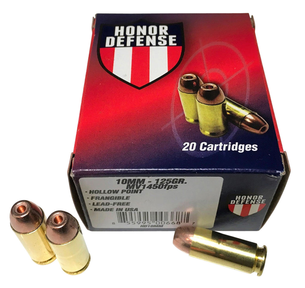 Honor Defense HD10MM    10mm Automatic 125 GR Hollow Point Frangible 20 Bx/ 25 Cs