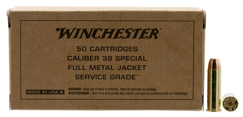 Winchester Ammo SG38W Service Grade   38 Special 130 GR Full Metal Jacket Flat Nose 50 Bx/ 10 Cs