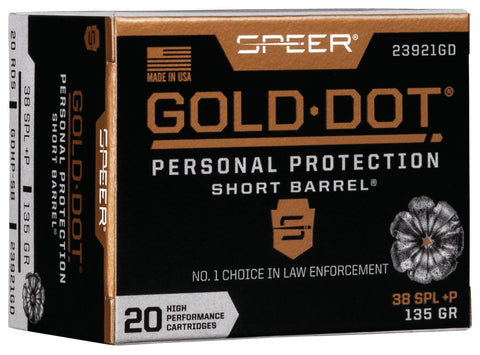 Speer Ammo 23921GD Gold Dot Personal Protection 38 Special +P 135 GR Hollow Point Short Barrel 20 Bx/ 10 Cs
