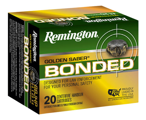 Remington Ammunition GSB357SBB Golden Saber Bonded  357 Sig 125 GR Brass Jacket Hollow Point 20 Bx/ 25 Cs