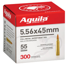 Aguila 1E556126 Rifle  5.56 NATO 55 gr Full Metal Jacket Boat Tail (FMJBT) 300 Bx/ 4 Cs