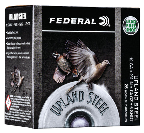 "Federal USH126 Upland Steel 12 Gauge 2.75"" 1 1/8 oz 6 Shot 25 Bx/ 10 Cs"