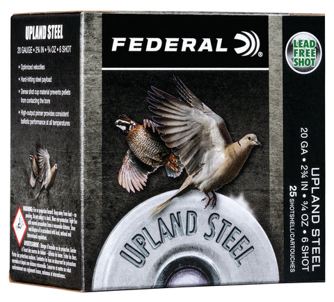 "Federal USH206 Upland Steel 20 Gauge 2.75"" 3/4 oz 6 Shot 25 Bx/ 10 Cs"
