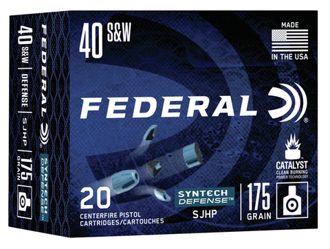 Federal S40SJT1 Syntech Defense 40 S&W 175 gr Segmented Jacketed Hollow Point (SJHP) 20 Bx/ 10 Cs