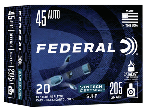 Federal S45SJT1 Syntech Defense 45 ACP 205 gr Segmented Jacketed Hollow Point (SJHP) 20 Bx/ 10 Cs