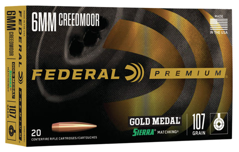 Federal GM6CRDM1 Gold Medal  6mm Creedmoor 107 gr Sierra MatchKing Boat-Tail Hollow Point (BTHP) 20 Bx/ 10 Cs
