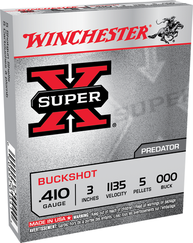 "Winchester Ammo XB413 Super-X 410 Gauge 3"" Copper-Plated Lead 5 Pellets 000 Buck 5 Bx/ 50 Cs"
