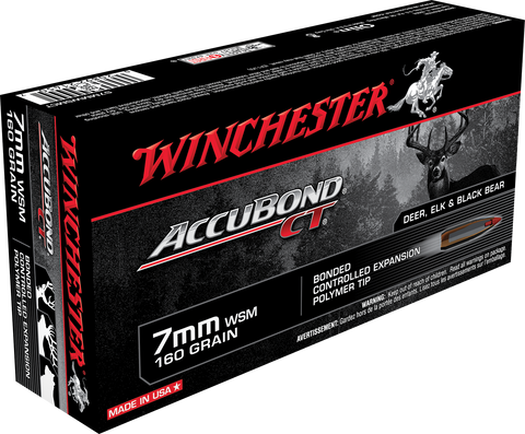 Winchester Ammo S7MMWSMCT Supreme 7mm Winchester Short Magnum 160 GR AccuBond CT 20 Bx/ 10 Cs