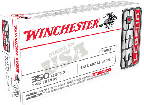 Winchester Ammo USA3501 USA  350 Legend 145 gr Full Metal Jacket (FMJ) 20 Bx/ 10 Cs