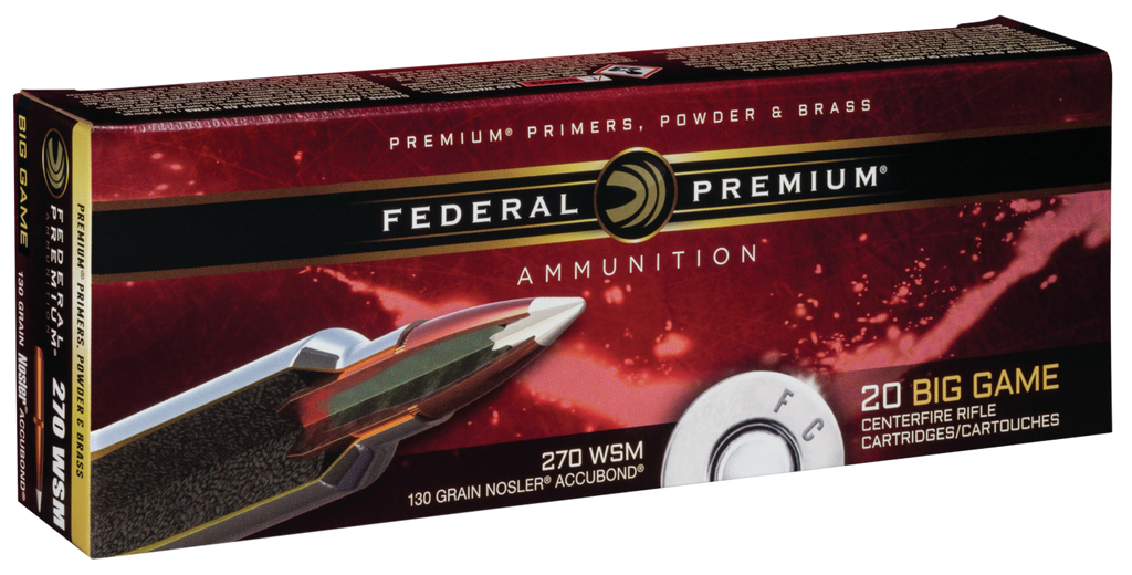 Federal P270WSMA1 Premium 270 Win Short Mag Nosler AccuBond 130 GR 20Box/10Case