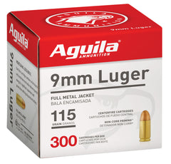 Aguila 1E097700 9mm Luger  115 gr Full Metal Jacket (FMJ) 300 Bx