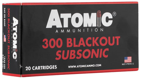 Atomic 00478 Rifle Subsonic 300 Blackout 260 gr Round Nose Soft Point Boat Tail (RNSPBT) 20 Bx/ 10 Cs