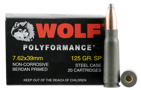 Wolf 762BSP Performance 7.62X39mm Soft Point 125 GR Soft Point Steel Case 1000 Rds