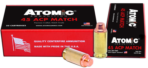Atomic 448 Match  45 ACP 185 gr Semi Wadcutter (SWC) 50 Bx/ 10 Cs