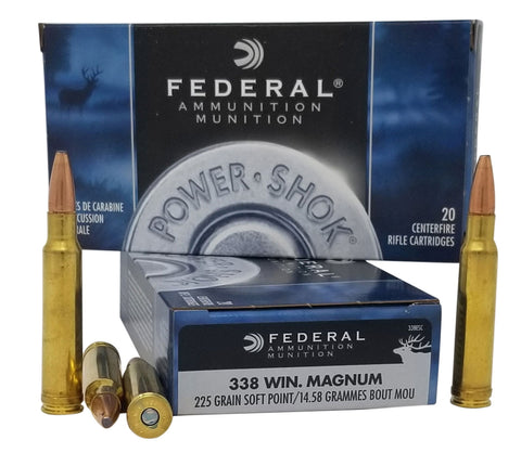Federal 338ESC Power-Shok  338 Win Mag 225 gr Soft Point (SP) 20 Bx/ 10 Cs