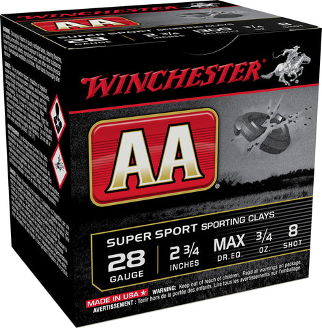 "Winchester Ammo AASC288 AA Sporting Clay 28 Gauge 2.75"" 3/4 oz 8 Shot 25 Bx/ 10 Cs"