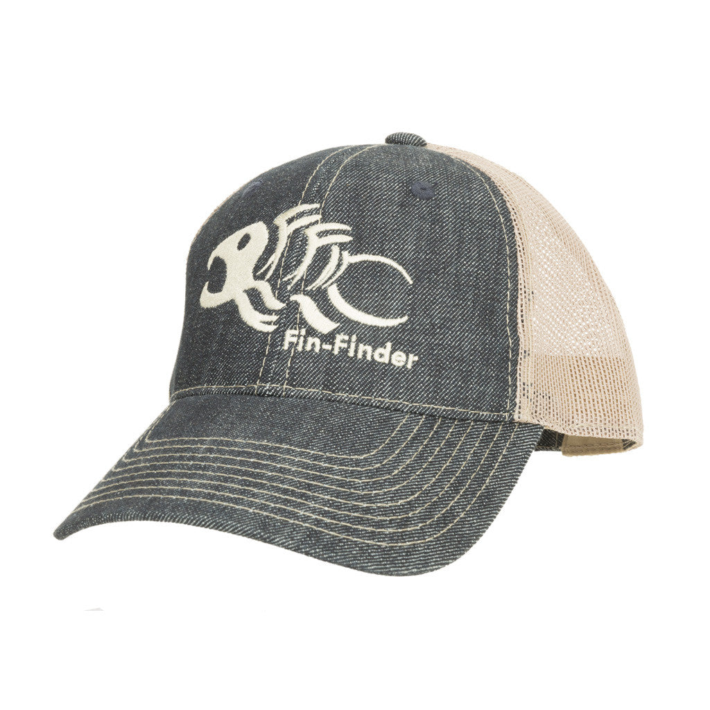 Fin-Finder Mesh Logo Hat Blue/Tan One Size