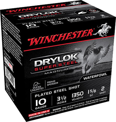 "Winchester Ammo XSC102 Drylock Super Steel High Velocity 10 Gauge 3.5"" 1 5/8 oz 2 Shot 25 Bx/ 10 Cs"