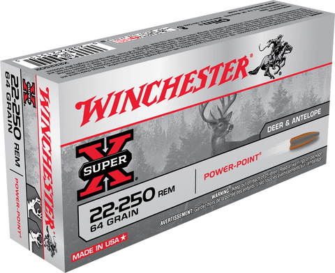 Winchester Ammo X222502 Super-X 22-250 Remington 64 GR Power-Point 20 Bx/ 10 Cs