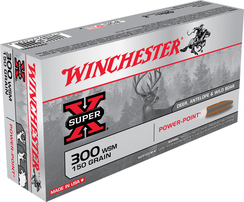 Winchester Ammo X300WSM1 Super-X 300 Winchester Short Magnum 150 GR Power-Point 20 Bx/ 10 Cs