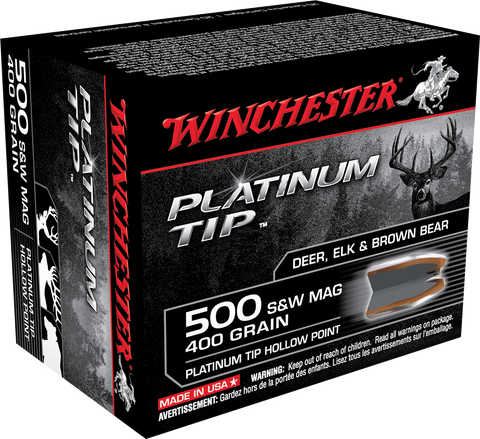 Winchester Ammo S500PTHP Supreme 500 Smith & Wesson 400 GR Platinum Tip Hollow Point 20 Bx/ 10 Cs