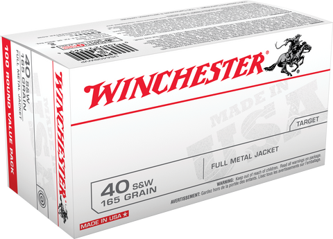 Winchester Ammo USA40SWVP Best Value 40 Smith & Wesson (S&W) 165 GR Full Metal Jacket 100 Bx/ 5 Cs - 100 Rounds