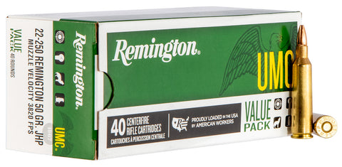 Remington Ammo L22504B UMC Value Pack 22-250 Rem 50GR JHP 40Box/10Case