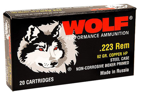 Wolf 22362HP Performance 223 Remington/5.56 NATO Bimetal Jacket 62 GR 500 Rds - 500 Rounds