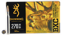 Browning Ammo B192202701 BXC Controlled Expansion 270 Win 145 GR Terminal Tip 20 Bx/ 10 Cs