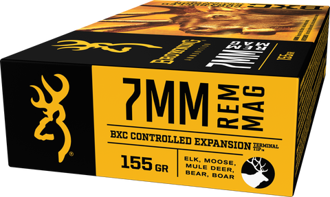 Browning Ammo B192200071 BXC Controlled Expansion 7mm Rem Mag 155 GR Terminal Tip 20 Bx/ 10 Cs