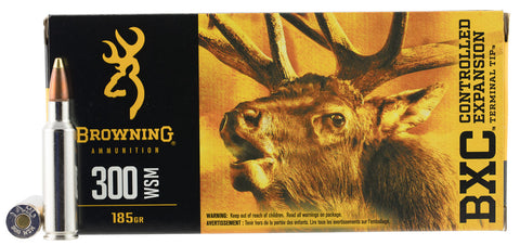Browning Ammo B192230001 BXC Controlled Expansion 300 WSM 185 GR Terminal Tip 20 Bx/ 10 Cs