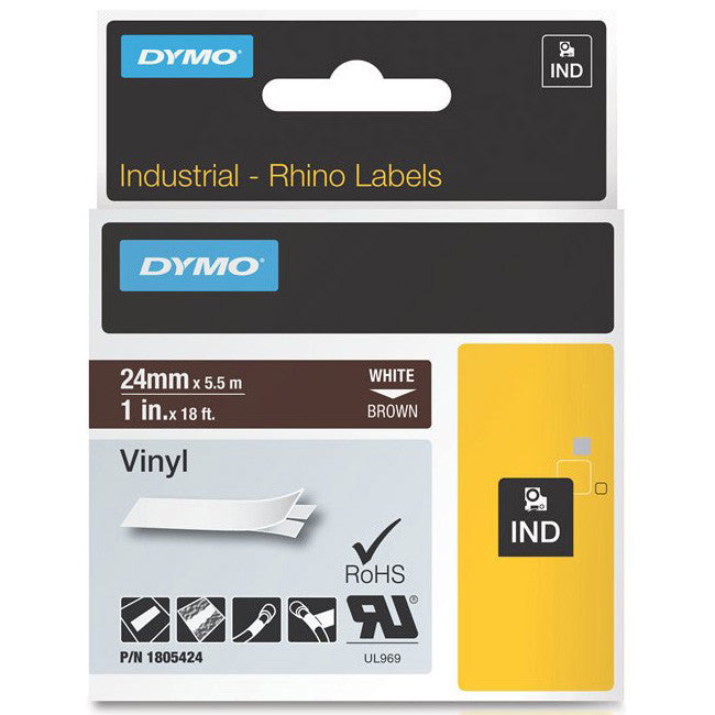 Dymo Rhino White on Brown Color Coded Label