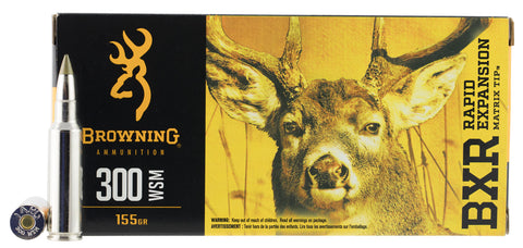 Browning Ammo B192130001 BXR Rapid Expansion 300 Winchester Short Magnum 155 GR Matrix Tip 20 Bx/ 10 Cs