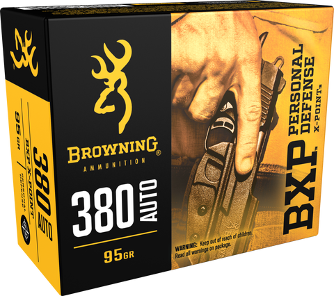 Browning Ammo B191703801 BXP X-Point 380 ACP 95 GR HP 20 Bx/ 10 Cs