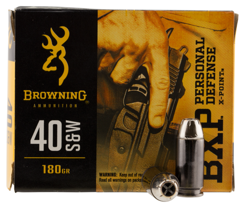 Browning Ammo B191700401 BXP X-Point 40 S&W 180 GR HP 20 Bx/ 10 Cs