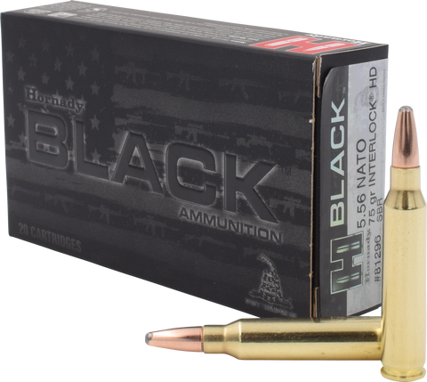 Hornady 81296 Black 223 Remington/5.56 NATO 75 GR InterLock HD 20 Bx/ 10 Cs