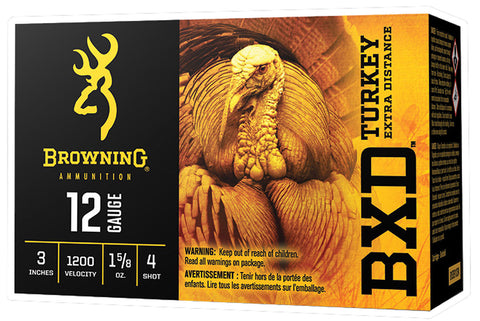 "Browning Ammo B193911234 BXD Turkey 12 Gauge 3"" 1 5/8 oz 4 Shot 10 Bx/ 10 Cs"