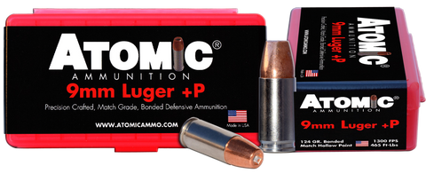 Atomic 00454 Defense 9mm +P Luger 124 GR Bonded MHP 20 Bx/ 10 Cs