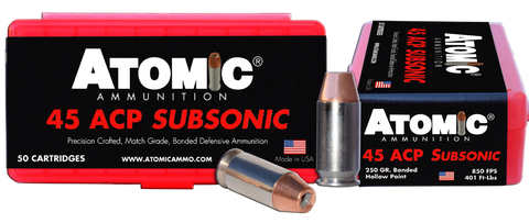 Atomic 00439 Subsonic 45 Automatic Colt Pistol (ACP) 250 GR Bonded Match Hollow Point 50 Bx/ 10 Cs