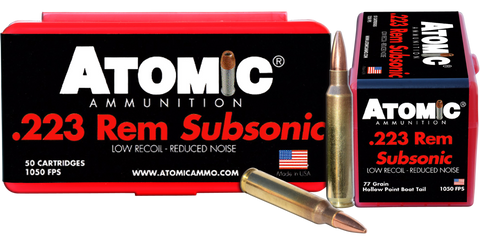 Atomic 00429 Rifle Subsonic 223 Rem 77 gr Hollow Point Boat Tail (HPBT) 50 Bx/ 10 Cs
