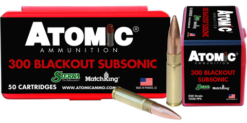 Atomic 00465 Subsonic 300 AAC Blackout/Whisper (7.62X35mm) 220 GR HPB Tail 50 Bx/ 10 Cs
