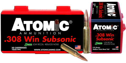 Atomic 00430 Subsonic 308 Winchester/7.62 NATO 175 GR SubSonic 50 Bx/ 10 Cs
