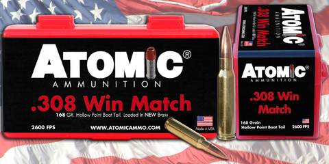 Atomic 00460 Match 308 Winchester/7.62 NATO 168 GR Tipped MatchKing 20 Bx/ 10 Cs
