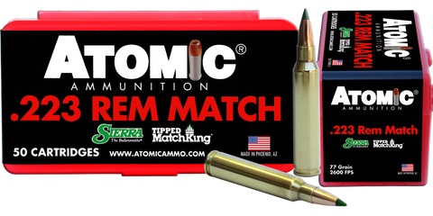 Atomic 00452 Match 223 Remington/5.56 NATO 77 GR Tipped MatchKing 50 Bx/ 10 Cs