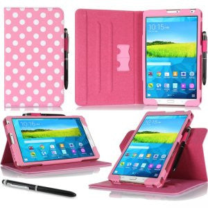 rooCASE - Dual View Folio Case for Samsung Galaxy Tab Pro 8.4, Polkadot Pink